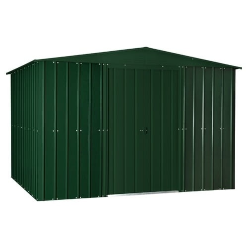 Lotus 10' x 12' Metal Shed Heritage Green Solid - door closed