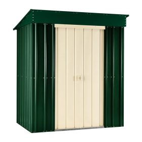 Lotus 6' x 4' Pent Metal Shed Heritage Green Solid/Cream